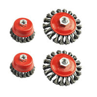 4pc Twist Knot Semi Flat Wire Wheel Cup Brush Set Kit For 115MM Angle Grinder