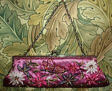DELIGHTFUL ELEGANT PINK SATIN CLIP EVENING BAG PURSE EMBROIDERED BEADED CHAIN