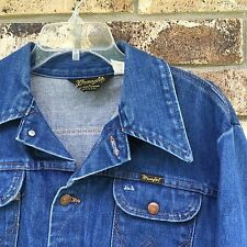 MENS WRANGLER BLUE JEAN 14 OZ DENIM JACKET MADE USA SIZE 42 126MJ 100% COTTON
