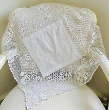 Vintage Antique Linen & Lace Table Tray Cloth Embroidered