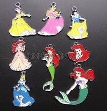 Lot 50 Pcs Disney Mixed Princess DIY Metal Charms Jewelry Making pendants Gifts