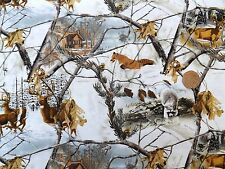 Foxes and deer in the snow Fabric fq 50x56 cm 100% Cotton 36900-109