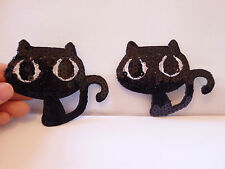 1 large black cat patch sequin applique motif iron on hotfix UK