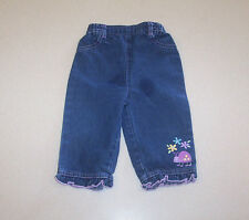 Infant Girl's Unknown Silk Screen Front Blue Denim Cotton Jeans 6-9 Months