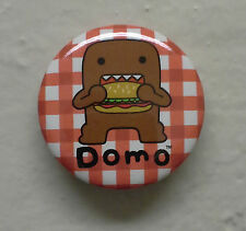 "BRAND NEW Burger Eating Domo kun 1.25"" Button Pin Sandwich ~ Officially Licensed"