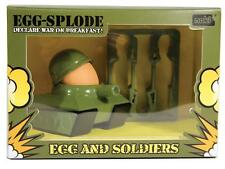 GREEN TANK EGG CUP AND TOAST CUTTER NOVELTY ARMY GIFT SET CUT BREAKFAST EGGCUP