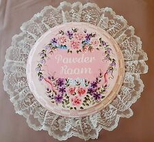 Powder Room Sign Shabby Chic Pink Absolutely Gorgeous Hand Painted Flowers