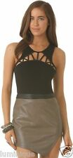NEW Beige Brown Faux Leather Skirt S 8 Asymmetrical Hem Club Party *LUSTERO*