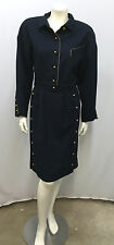 VINTAGE CHLOE SUIT SET JACKET SKIRT NAUTICAL SAILOR STYLE NAVY & GOLD 6 SMALL