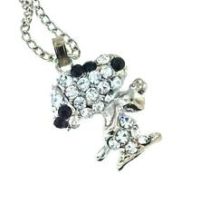 Peanuts Snoopy Crystal NECKLACE White Gold Plated Charlie Brown Love Heart