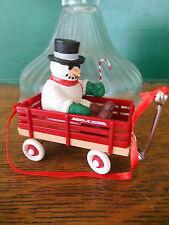 Snowman in Radio Flyer Red Wagon Christmas Ornament Gift