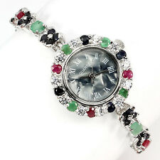 Sterling Silver 925 Round Faceted Emerald, Sapphire & Ruby Bracelet Watch 7.5 In