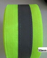 Sew On Hi Visibility Yellow 50mm Tape 15mm Silver Reflective Strip Sold Per Mtr