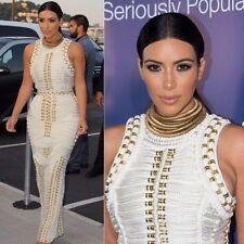 kim kardashian white inspired Runway bandage gold studded beaded maxi dress L