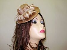 """BEIGE AND BROWN CIGARETTE GIRL SMALL SINAMAY HAT 7 1/4"""" WIDE HAIR COMB ATTACHED"""