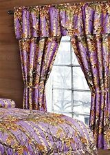 5 PC SET THE WOODS CURTAINS AND VALANCE DRAPES NEW PURPLE WOODS CAMOUFLAGE