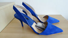 NEW ZARA ELECTRIC BLUE HIGH HEEL POINTED SLINGBACK SHOES SIZE UK 6 EU 39