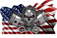 USA Flag Skull Piston Boat Car MOTORCYCLE Truck Stickers Decals Wrap 2- 28""