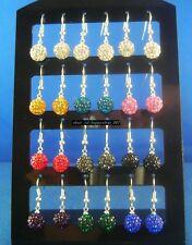 24pcs (12 pairs) 8mm Disco Crystal Ball 925 silver Hook Dangle Earrings E4