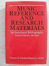 Music Reference Research Materials Annotated Bibliography Duckles HBDJ