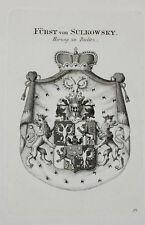 1846 Wappen von Sulkowsky Bielitz Kupferstich Tyroff