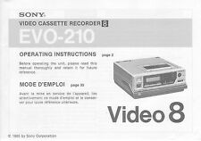 New listing Instruction Operating User Manual for Sony Evo-210 Video8 8mm Vcr Deck