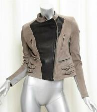 YIGAL AZROUEL Taupe Black Leather Quilted Zip Front Moto Jacket s. 2 NEW RT$1990