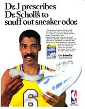 "1989 Julius Erving photo Dr. J Prescribes"" Dr. Scholls Shoe Snuffers print ad"