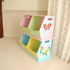 Kids Wooden Hand Painted Pink or Blue Double Stacking Toy Storage Box Bench
