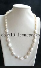 "wholesale  freshwater pearl white7-8mm round &coin  necklace 22"" beads nature"