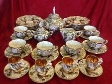 Porcelain Italian Capodimonte Tea Set 29 Pieces  Dessert Plates & Demitasse Cups