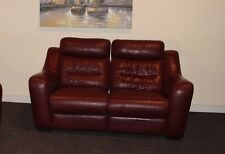 HALCYON DEEP RED LEATHER 2 SEATER MANUAL RECLINING SOFA