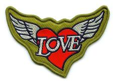 LOVE Liebe Aufnäher mit Herz und Flügel  Patch Wings and Heart