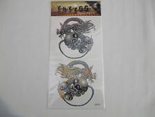 Fun Tattoos Antique Silver/Gold Coloured Skulls With Dragons New