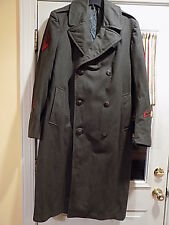 Vietnam Era Dress Green Overcoat USMC Military Marines Enlisted 38R Oct. 6 1960