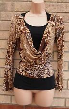LYCRA BEIGE BROWN BLACK COWL NECK LONG SLEEVE FLORAL PAISLEY BLOUSE TOP TUNIC M