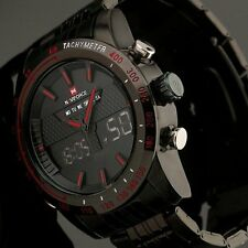 Men's Luxury Sports stainless Steel Digital Led Military Date Quartz Wrist Watch