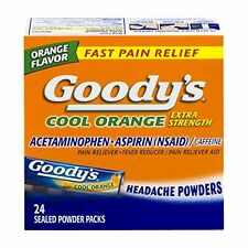 4 Pack Goody's Cool Orange Extra Strength Headache Powder 24 Sealed Packets Each