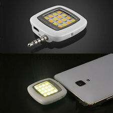 White 16 LED Selfie Flash Fill Flash Light & Cable for Samsung iPhone Universal