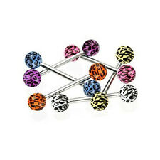 6pcs 14G Tongue Ring Tiger Animal Print Piercing Barbell FREE Retainer Gift Sexy