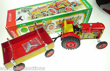 KOVAP  ZETOR TRACTOR WITH TRAILER  Windup European Hand Made TIn Toy 1:25 15cm