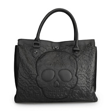Loungefly Black On Black Lattice Skull Tote Punk Goth Handbag Purse Bag LFTB0413