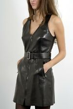 Luxurous Black Waxy Lambskin Leather Dress Giorgio New unworn Made in France