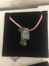 Mini Moke SE ref148 Pewter Effect Car on a Pink Cord Necklace Handmade 41CM