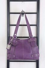 TIGNANELLO PURPLE PEBBLED LEATHER TOTE  BAG