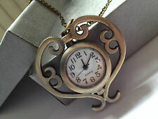 VINTAGE STEAMPUNK GOTHIC HEART WATCH NECKLACE IN AGED BRONZE STYLE METAL