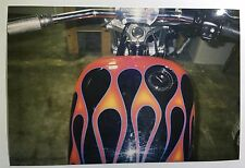 Vintage PHOTO Of A Custom Harley Davidson Motorcycle w/ Flame Paint Job Gas Tank