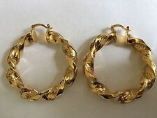 Medium Gold Filled Colour Chunky 50mm Twisted Greek Key Style Hoop Earrings
