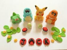Edible In The Style Of Pokemon X4 Squirtle, Pickachu Name Cake Topper Decoration