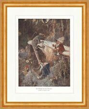 Der Kampf mit dem Drachen Heinrich Schlitt Zwerge Wald Pilz coloriert ED 0306